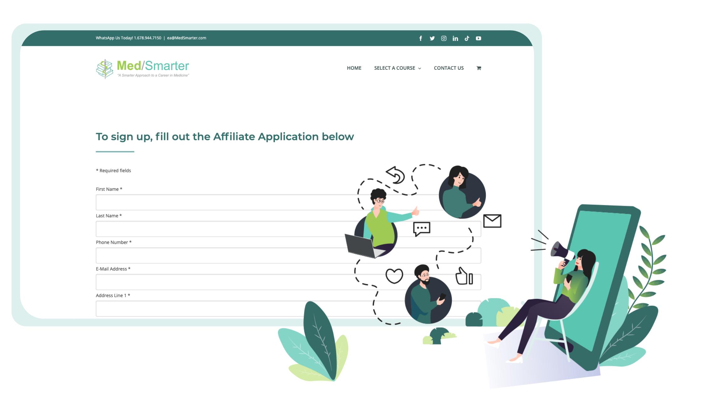 MedSmarter Affiliate Program Sign up form image